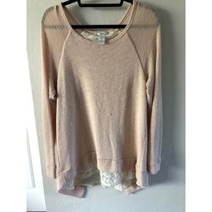 Blush sweater with lace underlay